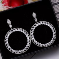 Wholesale Usa Personalities - Earring S925 silver pin CIRCLE tassle earring white cubic zircinia real rhodium plated personality USA style luxious jewellery free shiping