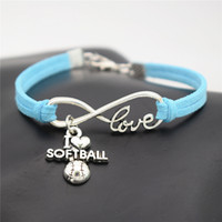 Wholesale infinity link bracelet - AFSHOR Punk Sport Antique Silver I Love Softball Pendant Charm Leather Suede Bracelet for Women Men Softball Team Gift Infinity Love Jewelry