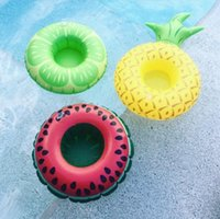 Wholesale plastic swimming pools - stylish cute inflatable donut fruit flamingo mini geometric floating swimming pool surfing summer beverage coasters free shipping