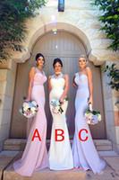 Wholesale Silk One Shoulder Long Dress - 3 Styles Neckline Mermaid Long Bridesmaid Dresses 2018 New One Shoulder Cheap Elegant Wedding Party Guest Wear Vintage Arabic Gowns BA8956
