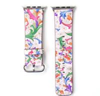 flor da faixa de relógio de couro venda por atacado-Banda de couro de bandas impressas para relógio de maçã iwatch S1 S2 S3 38 mm 40 42 44 mm Relógio de flor de cinto inteligente com fivela estilo nacional GSZ437
