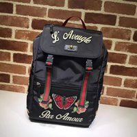 c100b7f80700f0 Top Quality Luxury Celebrity design Letter embossed Embroidered flower Bee  canvas leather Backpack Man Woman 450982 Travel bag
