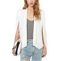 ofis katları toptan satış-Loneyshow Yaka Cape Panço Blazer Takım Ceket Yeni Bayanlar Kadınlar Uzun Kollu Seksi Ofis Ceket Pelerin Workwear