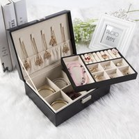 schwarze runde schwämme großhandel-Schloss Double Deck Schmuckschatulle Prinzessin European-Style Korean Holz Schmuck Ohrringe Schmuck Einfache Ohr Nagel Ring Collection Box