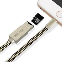 lector de tarjetas para apple al por mayor-2 en 1 Lector de tarjetas Micro SD TF Cable de carga USB Cable del lector de tarjetas OTG para iPhone XS X 8 7 6 Plus 5S para ipad Mini Air Pro