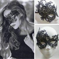 красивые маскарадные маски оптовых-Красивая леди черное кружево цветочные маска для глаз женщины Венецианский Маскарад необычные партии Пром платье половина маска аксессуары