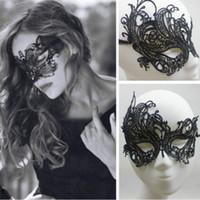 ingrosso belle maschere metà per le donne-Bella signora Black Lace Floral Eye Mask donne in maschera veneziana Fancy Party Prom Dress mezza maschera accessori