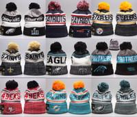sombreros de equipo gorros al por mayor-Barato nueva llegada Gorros sombreros del fútbol americano 32 equipos Gorros Deportes línea lateral de invierno de punto Beanie tapas hicieron punto los sombreros gota shippping