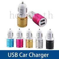 ingrosso adattatori per il caricatore dell'automobile per iphone5-Adattatore USB doppio in alluminio per caricabatterie da auto con porta USB universale per iPhone5 6 7 per Samsung Galaxy S8 S7 S6
