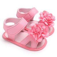 bebek kız bebek sevimli sandaletler toptan satış-Yaz Tatlı Bebek Kız Prenses Tarzı Sevimli Çiçek Beşik Bebek Yürüyor Yumuşak Soled Ayakkabı Sandal