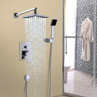 Wholesale Brass Shower Sets - New Wall Mounted Rainfall Shower Head Arm Control Valve Handspray Faucet Set Bathroom High Pressure Shower Set Sale