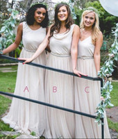 Wholesale wedding dresses neckline styles resale online - Country Style Chiffon Bridesmaids Dresses Mixed Neckline A Line Boho Wedding Guest Party Maid of Honor Gowns Plus Size