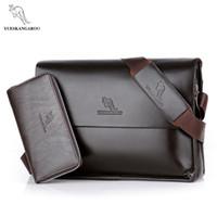erkekler deri haberci çantası kanguru toptan satış-YUES KANGAROO Marka Moda Deri Crossbody Çanta Erkekler Büyük Kapasiteli Messenger Çanta İş Omuz Tasarımcı çanta Man Çanta