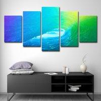 ingrosso pittura a olio d'onda-5 PCS telai modulari quadri su tela pittura di arte della parete 5 Pannello onda a rotazione Decor Per Soggiorno Camera da letto Stampe del petrolio