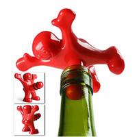 mutlu adam şarap tıpa toptan satış-1p0cs Bar Araçları Mutlu Adam Bira Soda Yenilik Şişe Tıpa Şarap Mantar Fiş Şişe Kapağı Kapak Yaratıcı Mutfak Bar Araçları