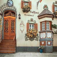 ingrosso porte finestre in stile europeo-Retro stile europeo edificio ad arco porta scale sfondo di nozze per la fotografia di Windows stampato fiori arancioni Photo Studio sfondi