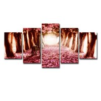 Wholesale cherry blossoms panel paintings for sale - Group buy Modular Pictures Home Decor Canvas Framed Pieces Cherry Blossoms Painting Girl And Dog Posters For Living Room Wall Art
