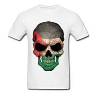 sweatshirt punk toptan satış-Punk Tarzı Moda erkek Casual Tees Tops Tees Toptan Tees Filistinli Bayrak Kafatası Baskılı Tshirt Özel Kazak Yaz Üstleri T Gömlek