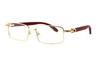ingrosso le migliori marche dei vetri-Occhiali quadrati Occhiali da sole in vetro di vetro di legno di corno di bufalo Occhiali da sole Designer di marca Occhiale da vista in legno di alta qualità in legno color oro con scatola