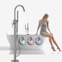 Wholesale contemporary bath lighting - Free Standing Bathroom Bathtub Faucet led light Spout Brushed Nickel Bath Shower Set Floor Mount Tub Mixer Tap with Handshower