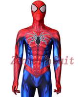 ingrosso costumi da supereroe del capretto di zentai-2018 Il più nuovo costume di Spiderman 3D stampato Lycra Spandex Spider-man Costume da supereroe Halloween Fullbody Zentai Suit For Kids / Adult