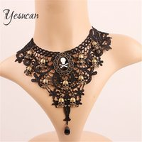 ingrosso colletto in tallone nero-Yesucan Black Lace Beads Choker Steampunk Gothic Skull Steampunk Party Jewelry Collana gotica collare NGift per le donne