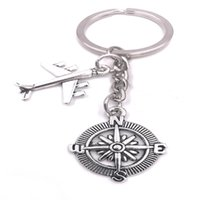 Wholesale Keychain Aircraft - 2018 New Hot Ancient Silver Aircraft Compass Charm Pendant Travel Keyring Keychain Fashion Creative Lovers Jewelry Accessories Holiday Gifts
