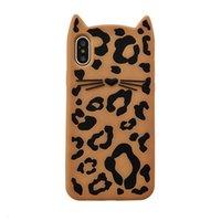 léopard iphone 5s achat en gros de-3D Cas Animé Kitty Souple En Silicone De Téléphone Pour Iphone 5S 5Se Animal Moustaches Chat Léopard Pour Apple 6 6s 7 8 Plus