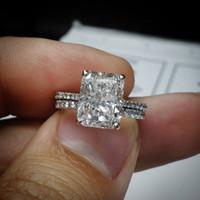 Wholesale gold emerald cut ring - Certified 3Ct Emerald Cut White Diamond Engagement Wedding Ring 14K White Gold