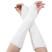 guantes blancos largos y calientes al por mayor-FEITONG guantes de las mujeres lindo Otoño Invierno Mujeres de Lana de Cachemira Guantes de punto 2017 Nuevo Cálido Suave Blanco Femenino Largo Sin Dedos