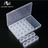 ingrosso scatola glitter vuota-28 Scompartimento vuoto Nail Art Decorazione Storage Case Box Nail Glitter strass Crystal Beads Accessori Container Tool