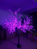 ingrosso viola luci albero luci-2M altezza 6.6ft 1248 LED Cherry Blossom Tree Outdoor Garden Pathway Vacanze Natale capodanno festa matrimonio luce Decor impermeabile viola