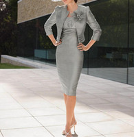 Wholesale grey evening gown jacket - Plus Size Grey Crystals Satin Mother of the Bride Groom Dresses With 3 4 Long Sleeves Jacket 2019 Pleats Beaded Flowers Formal Evening Gowns