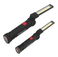 ingrosso torcia elettrica ultrafire cree aa-Lampada a LED COB Batteria ricaricabile USB incorporata Luce a LED con magnete Torcia portatile Torcia da lavoro per campeggio all'aperto