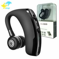 шум bluetooth оптовых-V9 Handsfree Беспроводные наушники Bluetooth CSR 4.1 Шумоподавление Бизнес Беспроводная гарнитура Bluetooth Голосовое управление с микрофоном для водителя Спорт