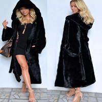 siyah kapşonlu sahte kürk toptan satış-Yeni şık siyah faux kürk uzun bölüm kapşonlu kış coat bayan dış giyim kalın sıcak P004