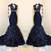 Wholesale T Shirt Ruffle Skirt - 2018 Navy Blue Mermaid Long Sleeves Prom Dresses Black Girls African High Neck Evening Gowns With Layers Ruffle Skirts