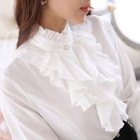 lila hemden für damen großhandel-Stehen gekräuselten Kragen Tops Frauen formale Langarm schlanke Taille lila weiße Bluse Büro Dame Rüschen Shirts
