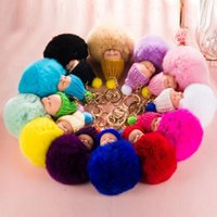 Lovely Fluffy Rabbit Fur Ball Chaveiro Pompom Artificial Rabbit Fur Keychain Mulheres Carro Bag Key Ring Party Supplies F20172745