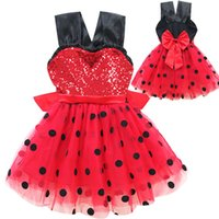 Wholesale dot cosplay online - Baby girls ladybugs cosplay dress Children Sequin Dot Bow princess dress Summer fashion Boutique Kids Clothing C5558