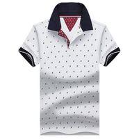 Wholesale stand collar shirts men - New Brand Polos Mens Printed Polo Shirts Cotton Short Sleeve Camisas Polo Casual Stand Collar Male Polo Shirt 4XL Eda234
