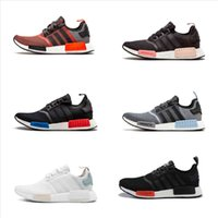 Wholesale discount sports online - Adidas Originals NMD Runner Primeknit Sneakers Top Quality New Men And Women Running Shoes Triple White Black Discount Sports Shoes For Sale