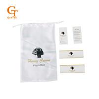 weiße satin tasche großhandel-Luxury Virgin Hair Bundles Extensions Verpackung weißen Satin Taschen, Bündel Verpackung Aufkleber hängen Tags Etiketten, Verpackung Wrap Aufkleber