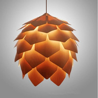 handmade wooden pendants 2018 - Wood Pendent Light Denmark Antique PH Artichoke Oak Wooden Pineal Modern Creative Handmade Light Wood Hanging Lamp Pendant Lighting 25~60CM