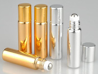 Wholesale glass bottle atomizer metal spray - 5ml Spray Atomizer Container Glass +Metal Essential Oil Roller Bottles Roller Balls Aromatherapy Perfumes Lip Glass Roll on Bottle