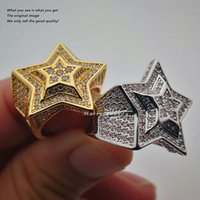 Wholesale Pentagram Gold 18k - High Quality 18k Gold Plated Star Micro Pave Cubic Zircon Pentagram CZ Ring Gold Silver Women Mens Hip Hop Jewelry