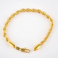 ouro real cheio venda por atacado-24 K Real Ouro Amarelo Sólido Preenchido Corda Pulseira 5mm, 21.5 cm / 8.4 polegada Longa, homens / Senhoras Venda Evento
