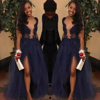 Wholesale Lace Plunge Top - 2018 Couple Fashion Navy Blue Prom Dresses Sheer Illusion Top Split Evening Gowns Tulle Appliques Plunging V Neck vestidos Party Dress