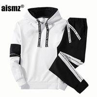 ingrosso vendita di hoodie uomini-Aismz Men Set Abbigliamento Felpe + Pantaloni Set Felpa Cotone Casual Patchwork Tuta Da Uomo Vendita Calda Brand 2 Pezzi 738