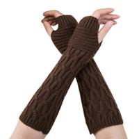 luvas longas fingerless do aquecedor do braço venda por atacado-Moda Feminina Inverno Pulso Arm Warmer Malha Luvas Longas Dedos Mitten 17Nov1
